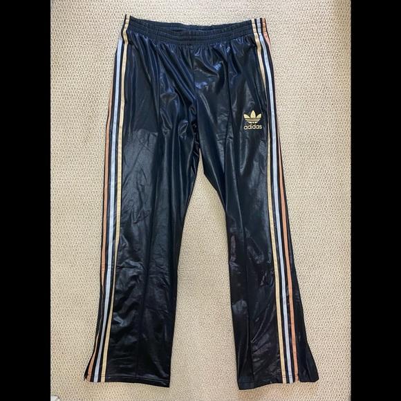 Adidas Chile 62 Black Shiny Track Pants Men's L
